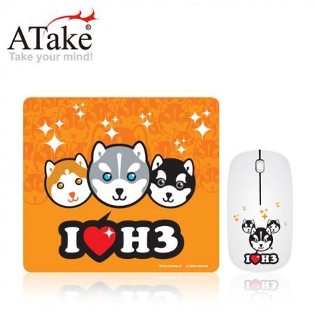 福利品【ATake】療癒系哈士奇有線光學滑鼠+滑鼠墊
