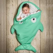 【西班牙製】鯊魚咬一口BabyBites純棉嬰幼兒多功能睡袋-青草綠