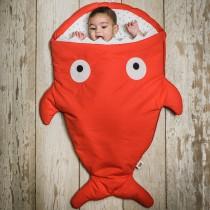 【西班牙製】鯊魚咬一口BabyBites純棉嬰幼兒多功能睡袋-喜氣紅